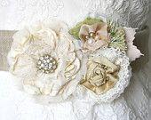 Floral Bridal Sash, Country Chic Vintage Wedding. $146.00, via Etsy.