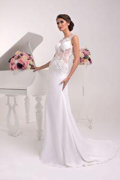 Extravagantné sexi priliehavé svadobné šaty zdobené čipkou