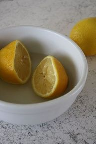 When life gives you lemons, make microwave cleaner. One sliced lemon squeezed into a microwave-safe bowl, heat on high for 4 mins, let sit for 10 mins, wipe clean with soft cloth and water.