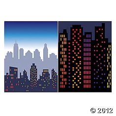 cityscape - yea, I'm going to need this for the superhero party.  From orientaltrading.com