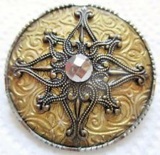 Outstanding LARGE Antique~ Vtg Victorian Metal BUTTON Ornate Design w/ Cut Steel