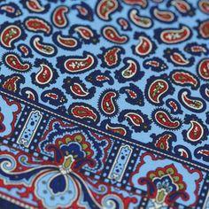 Paisley Silk Pocket Square - Sky Blue