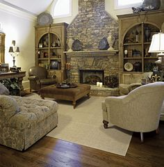 very cozy- love the built ins by the fireplace