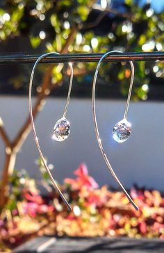 Want! Water Drop earrings on gently curved pure copper, sterling silver or gold-filled ear wires