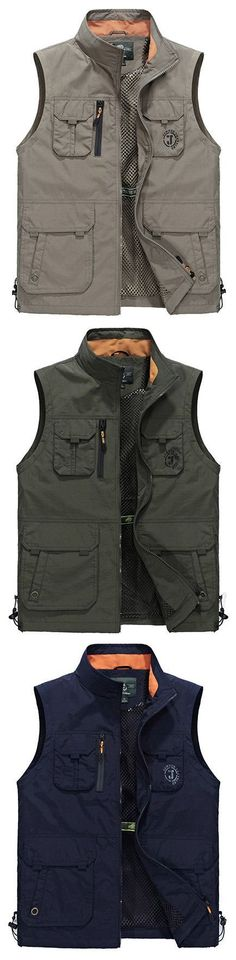 18f1df566a4 Plus Size Outdoor Sport Water Repellent Thin Loose Stand Collar Fishing Vest  for Men Outdoor Vest