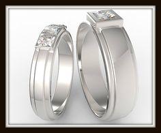 Su y su diamante de Corte Princesa conjunto de por Vidarjewelry