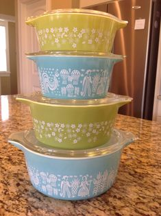 Turquoise and Lime Pyrex