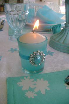 Turquoise tea light holder