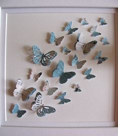 Shabby Lace and Robins Egg Blue - 3D Butterfly Art - 8 X 8 inches - READY to Ship. $30.00, via Etsy.