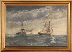 Ubekendt kunstner. Marineparti. Olie på lærred. Sign. og dat. C. Olsen 99. 33,5 x 48 cm (39,5 x 55 cm).