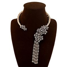Fashion Vintage Style Half Ring Chain Flowers and Tassels With Diamonds Charm Necklace Collar Bib for Women ** You can find more details by visiting the image link.