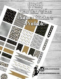Free New Years Eve Printables for your Planner. EC and HP sizes available. Free Planner, Happy Planner, Planner Diy, Passion Planner, Planner Ideas, Filofax, Pocket Page Scrapbooking, Printable Planner Stickers, Mambi Stickers