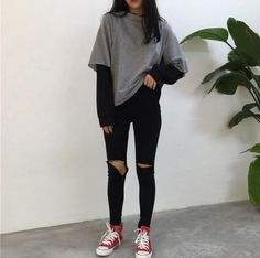 Love these korean fashion outfits 5224171821 me close Edgy Outfits, Cute Casual Outfits, Mode Outfits, Retro Outfits, Fall Outfits, Fashion Outfits, Fashion Ideas, Simple Outfits, Summer Outfits
