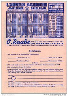 Original-Werbung Prospekt 1950 - 2-Seiter : RAABE/SÜDDEUTSCHE KLASSENLOTTERIE - ca. 140 X 210 mm