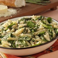 Asparagus-Spinach Pasta Salad Recipe from Taste of Home -- shared by Kathleen Lucas of Trumbull, Connecticut
