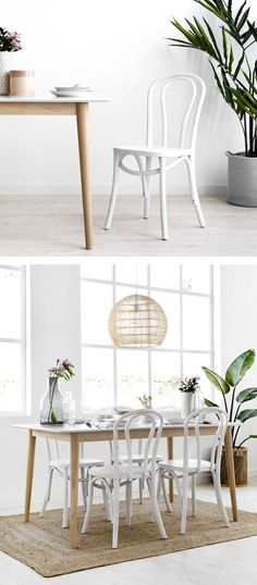 Adele white chair / Become the perfect host with the white Adele wooden chair. A beautiful curved wood design ideal to give a retro look to your rooms. White Wooden Dining Chairs, Dining Table, Curved Wood, Look Retro, Wood Design, Adele, Furniture Decor, Room, House