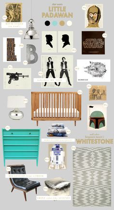 via star wars baby nursery style board - via Lay Baby Lay! It's like Polyvore for Nurseries!
