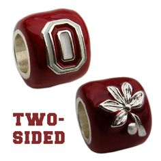 Scarlet Ohio State Block O & Buckeye Leaf Bead, Silver Plated - Collegiate Licensed Product