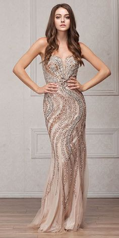 Floor Length Mermaid Shape Cute Prom Gowns with Sweetheart and Strapless  Neckline featuring Sparkling Gemstone Beaded Bodice with Open Back also has  Mesh ... 51cd76945619