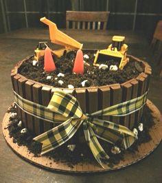 Dump truck kit kat cake - chocolate barrel cake - Construction Birthday Cake by Melissa Holman! #digger