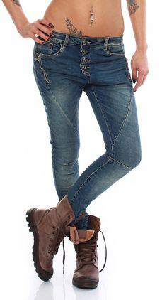 SKUTARI Luxus Zip Denim Stretch Baggy-Jeans Boyfriend schräge Naht 4 Knöpfe offene Knopfleiste: Amazon.de: Bekleidung