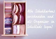 Kartons als Organizer in Wäscheschublade