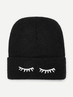 Eyelash Embroidery Beanie HatFor Women-romwe Moda Coreana 69484eb5e95