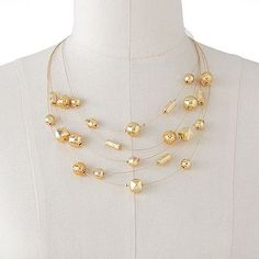 Gold-Tone Beaded Multistrand Necklace