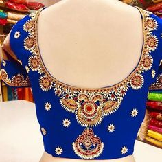 No photo description available. Wedding Saree Blouse Designs, Best Blouse Designs, Pattu Saree Blouse Designs, Blouse Neck Designs, Neckline Designs, Maggam Work Designs, Embroidery Neck Designs, Designer Blouse Patterns, Instagram