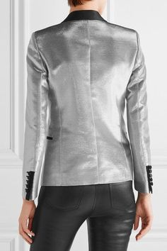 Saint Laurent - Satin-trimmed Lamé Tuxedo Blazer - Silver - FR34