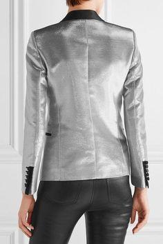 Saint Laurent - Satin-trimmed Lamé Tuxedo Blazer - Silver - FR34