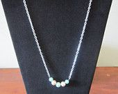 Light Blue and Peach 5 Pearl Necklace
