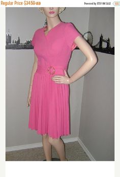 SALE 50s Pink Day Dress Vintage Pink by PopcornVintageByTann