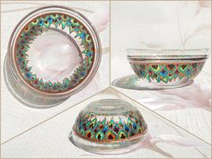RichanaDragon     Dragon feathers. Glass bowl (candle holder) with bright and contrast rainbow colors stylized feathers (or petals) pattern. Hand painted stained glass.     ○ SIZE:10 х 4 cm / 3.94 x 0.98 inch ○ NET WEIGHT: 150 g / 0.33 lb