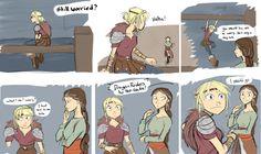Worry by Socij.deviantart.com on @DeviantArt I really enjoy seeing bonding moments between Astrid and Valka.
