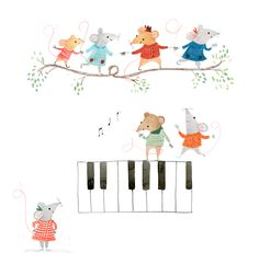 """""""Musical mice"""" illustrated by Rachel Stubbs. Music Pictures, Music Images, Illustrations And Posters, Children's Book Illustration, Drawing For Kids, Cute Drawings, Cute Wallpapers, Cute Art, Illustrators"""