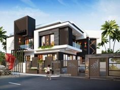 Modern home design 3 Storey House Design, Bungalow House Design, House Front Design, Modern Bungalow Exterior, Modern House Facades, House Architecture Styles, Architecture Design, Best Modern House Design, Model House Plan