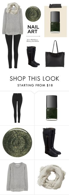 """""""Green With Envy: Wintery Nail Polish"""" by coolchick1630 ❤ liked on Polyvore featuring beauty, Topshop, NARS Cosmetics, RGB, Burberry, Diane Von Furstenberg, Pure Collection and Versace"""