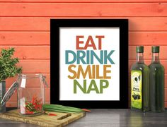 Add a touch of humor and color to your kitchen with this contemporary art print. $20
