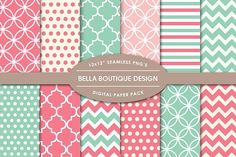 Vector & PNG Patterns - Coral & Mint. Patterns. $5.00