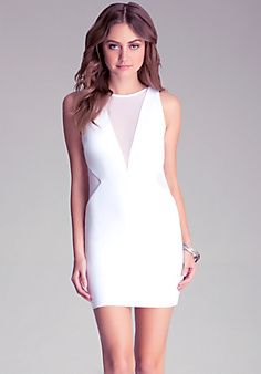 Mesh Inset Knit Dress, sexy white dress for a hot summer night out