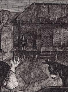 The Rain  Original pen illustration inspired by by DollsInTrees, $175.00