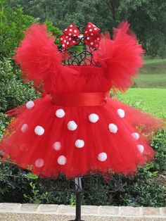Red Polka Dot Party Dress Tutu Dress and Bow Set Great for Birthday or Halloween Costume by FrillsandFireflies Etsy Shop, $57.00