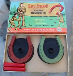 Davy Crockett Rubber Horseshoe Set Complete Game Auburn Toys Vintage
