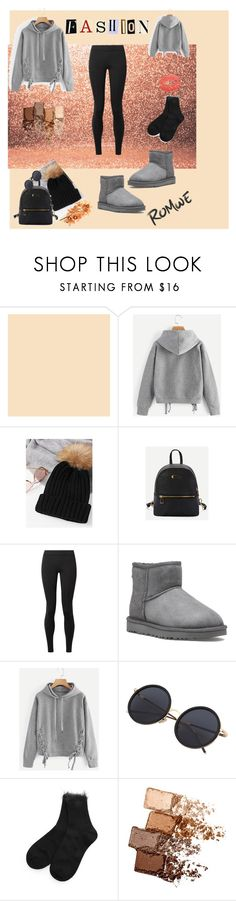 """""""ROMWE Lace Up Side Marled Hoodie"""" by egiuffre525 on Polyvore featuring The Row, UGG and Maybelline"""