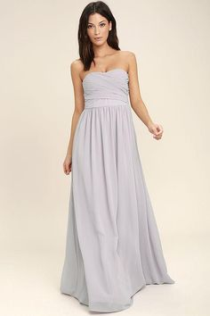 #NewYear #Lulus - #Lulus All Afloat Light Grey Strapless Maxi Dress - Lulus - AdoreWe.com