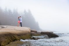 Lexi & Matt Photography, Coastal Maine Wedding Engagement Photographer, Owls Head Pictures, Foggy Engagement Photography