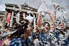 Feathers fly as pillow fights break out across globe  (Photo: Ben Stansall / AFP - Getty Images)