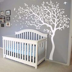 Huge White Tree Flowers Vinyl Wall Decal Nursery Tree and Birds Wall Sticker Art Baby Kids Bedroom DIY Home Decor Mural A-156