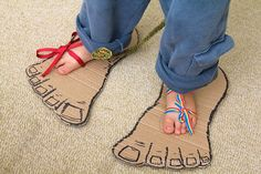 DIY Monster Feet - might help Isaiah learn to tie his shoes too :)
